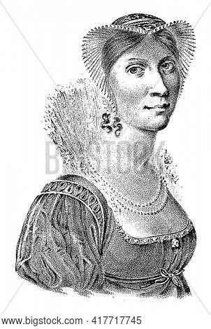 Portrait of Wilhelmina. In the bottom margin her name and title.