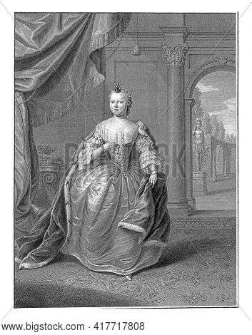 Portrait of Carolina. She is standing in a room with a view to a garden on the right. In the bottom margin her name and titles.
