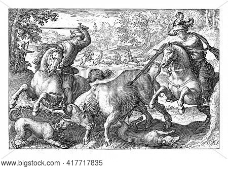 Landscape with in the foreground two horsemen with spears and two dogs chasing a bull. In the background several hunters and riders are hunting a bull