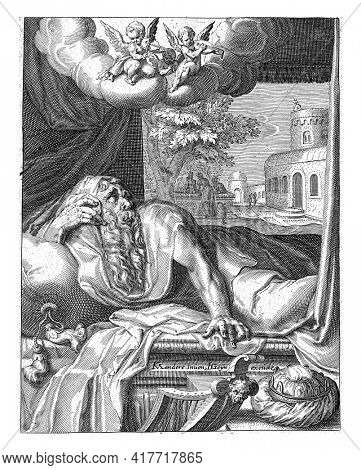 David, lying in a four-poster bed. On the table next to the bed is a crown, against the table is a harp - references to David's kingship and musical gift.