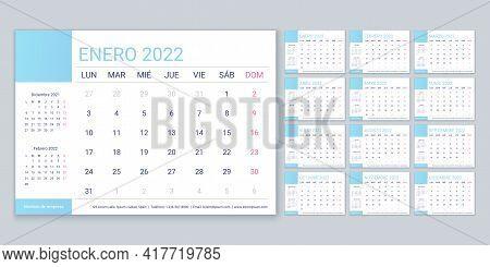 Calendar 2022 Year. Spanish Planner Template. Week Starts Monday. Vector. Table Schedule Grid. Yearl