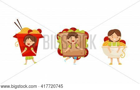 Little Boy And Girl Dressed In Chinese Noodle And Sandwich Outfit Enjoying Fancy Carnival Vector Set
