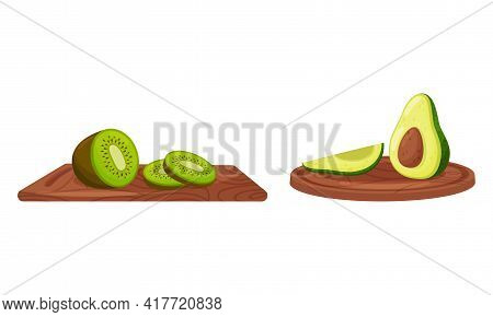 Ripe And Juicy Fruits Rested On Wooden Cutting Board Showing Sweet Flesh With Seed Vector Set