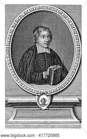 Portrait to the right of the pastor Pierre Nicole in an ornamental frame. His right hand rests on a book. Below the portrait the name of the person portrayed.