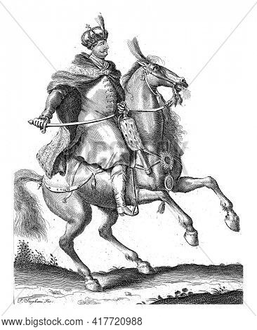 Portrait of Jan III Sobieski, King of Poland, on horseback with a sword in his hand. At the bottom in the margin are name and function in Latin.