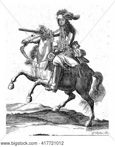 Portrait of Philip I, Duke of Orleans, on horseback with a command staff in his hand. At the bottom in the margin are name and position in French.