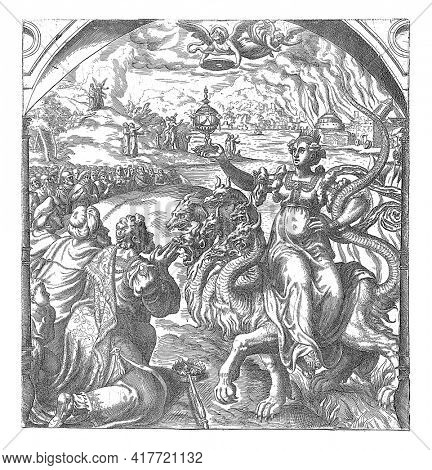 In the foreground the harlot Babylon, sitting on a dragon with seven heads and ten horns. A golden cup in her hand. The woman is worshiped by kings. An angel announcing the downfall of Babylon.