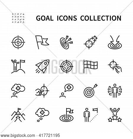Goal Vector Line Icons Set. Business Goal. Isolated Icon Collection On White Background. Goal And Ta