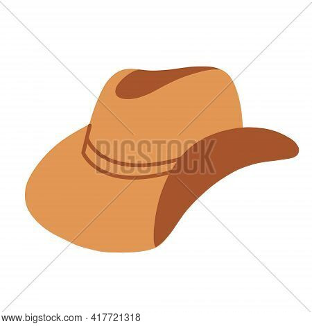A Cowboy Hat. Wide-brimmed Hat, Isolated On A White Background. Vector Illustration Flat Illustratio