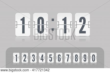 Vector Modern Ui Of Retro Time Meter With Numbers. Old Design Scoreboard Clock Template. White Score