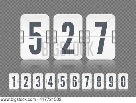 Vector White Scoreboard Numbers With Reflections For Flip Countdown Timer Or Calendar. Template For