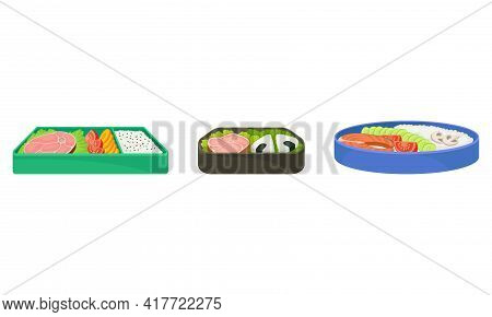 Bento Box As Japanese Single-portion Take-out Or Home-packed Meal Vector Set