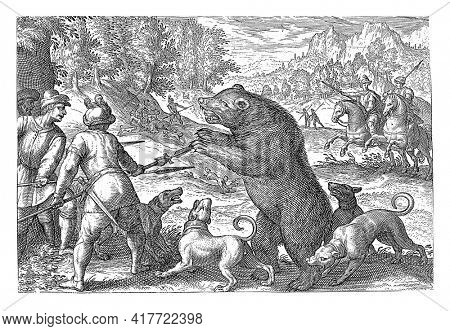 Landscape with three hunters and four dogs in the foreground chasing a bear. One of the dogs bites the bear's paw. In the background to the right two horsemen with spears