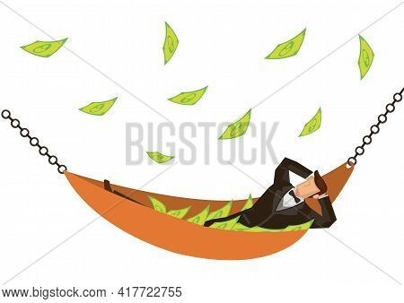 Businessman Lying In A Hammock With Falling Money Isolated On White Background. Concept Of Wealth An