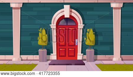 Luxury Cottage House Facade, Home Building Exterior Of Green Brick, Red Wooden Arched Door And Rug A
