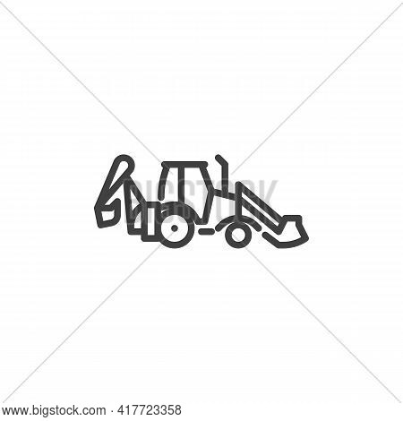 Excavator Tractor Line Icon. Linear Style Sign For Mobile Concept And Web Design. Excavator Machine