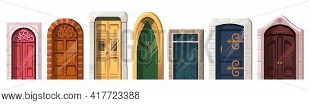Old Medieval Doors In Stone Arch For Building Facade. Vector Cartoon Set Of Entrance In Vintage Hous