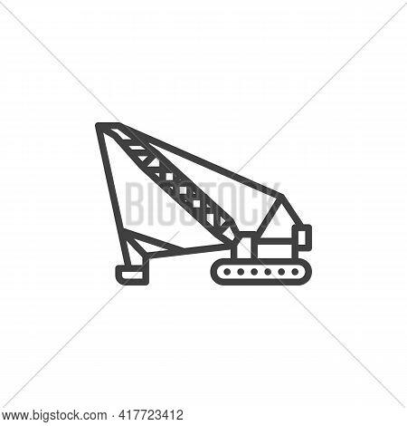 Crawler Crane Line Icon. Linear Style Sign For Mobile Concept And Web Design. Crane Machine Outline