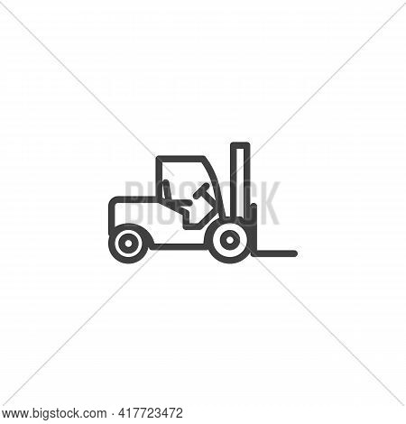 Forklift Truck Line Icon. Linear Style Sign For Mobile Concept And Web Design. Loader Truck Outline