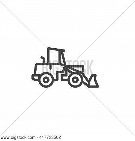 Construction Excavator Truck Line Icon. Linear Style Sign For Mobile Concept And Web Design. Loader