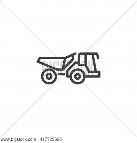 Dump Truck Line Icon. Linear Style Sign For Mobile Concept And Web Design. Construction Truck Outlin