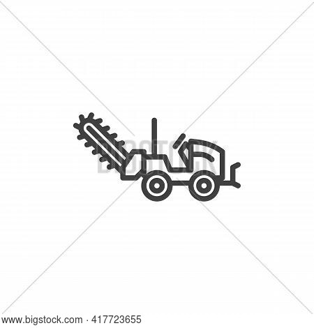 Cold Milling Machine Line Icon. Linear Style Sign For Mobile Concept And Web Design. Milling Truck O