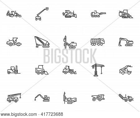 Construction Machinery Line Icons Set. Linear Style Symbols Collection, Outline Signs Pack. Heavy Eq