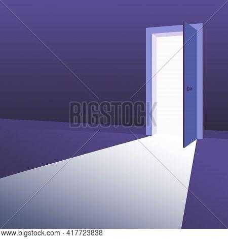 Open Door With Light Beams Going Inside Dark Room. Symbol Of New Way, Exit, Discovery, New Opportuni