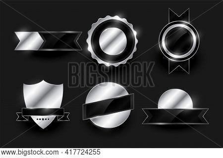 Set Of Shiny Silver Labels And Badges Design