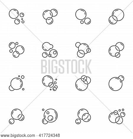 Soap Bubbles Line Icons Set, Outline Vector Symbol Collection, Linear Style Pictogram Pack. Signs, L