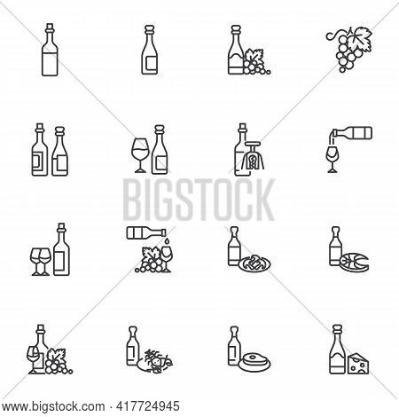 Wine Menu Line Icons Set, Outline Vector Symbol Collection, Linear Style Pictogram Pack. Signs, Logo
