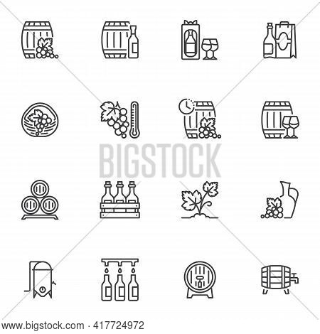 Wine Making Line Icons Set, Outline Vector Symbol Collection, Linear Style Pictogram Pack. Signs, Lo