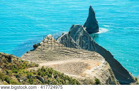 The Scenery View Of Cape Kidnappers An Iconic Famous Landscape Of Hawke's Bay Region, New Zealand. T
