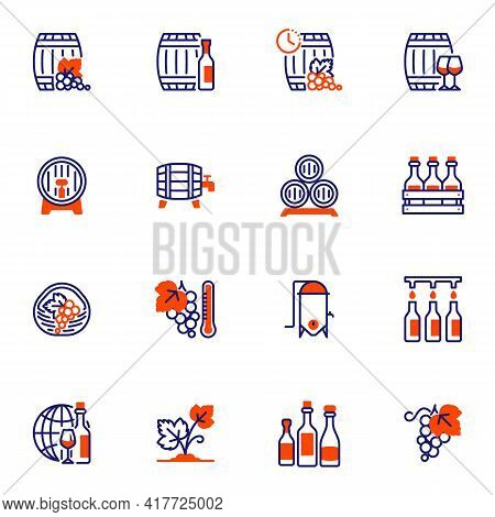 Wine Making Line Icons Set, Winery Outline Vector Symbol Collection, Linear Style Pictogram Pack. Si