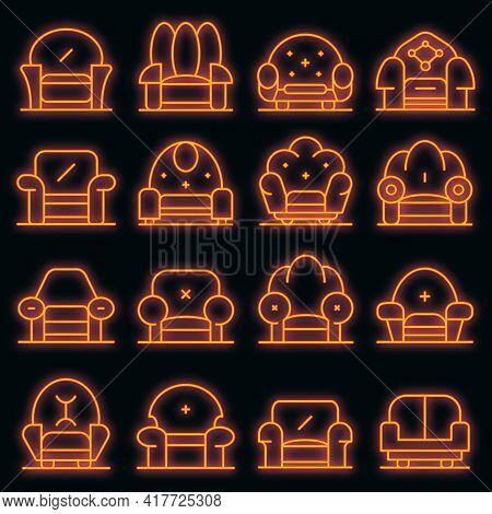 Armchair Icons Set. Outline Set Of Armchair Vector Icons Neon Color On White