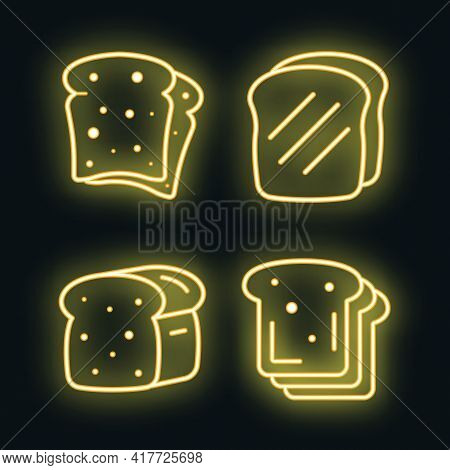 Toast Icons Set. Outline Set Of Toast Vector Icons Neon Color On White