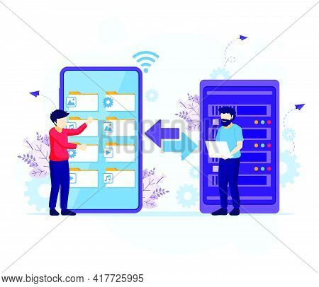 Backup Data Concept, People Copying Files Or Files Transfer Process On A Giant Smartphone To Server.