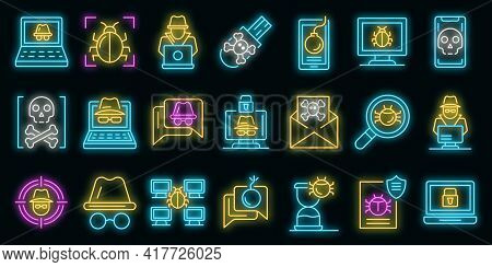 Hacker Icons Set. Outline Set Of Hacker Vector Icons Neon Color On Black