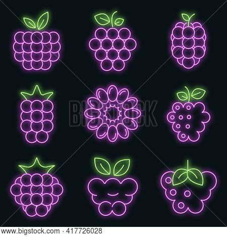 Raspberry Icons Set. Outline Set Of Raspberry Vector Icons Neon Color On Black