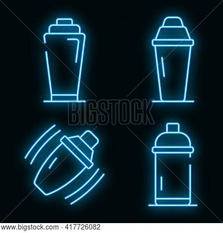 Bar Shaker Icons Set. Outline Set Of Bar Shaker Vector Icons Neon Color On Black