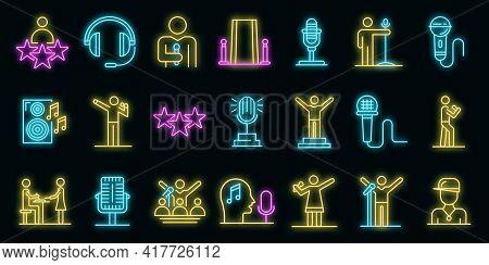 Singer Icons Set. Outline Set Of Singer Vector Icons Neon Color On Black