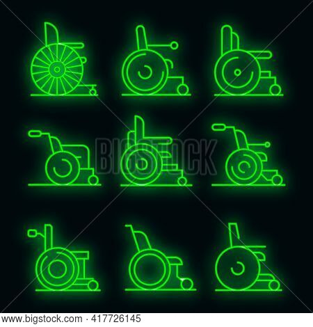 Wheelchair Icons Set. Outline Set Of Wheelchair Vector Icons Neon Color On Black