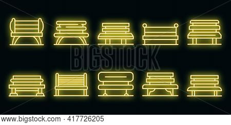 Park Bench Icons Set. Outline Set Of Park Bench Vector Icons Neon Color On Black
