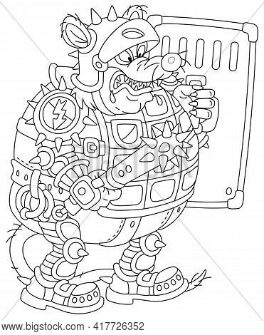 Spiteful Fat Rat Guard In Armor And A Helmet, Armed To The Teeth, Holding A Spiked Cudgel And A Shie