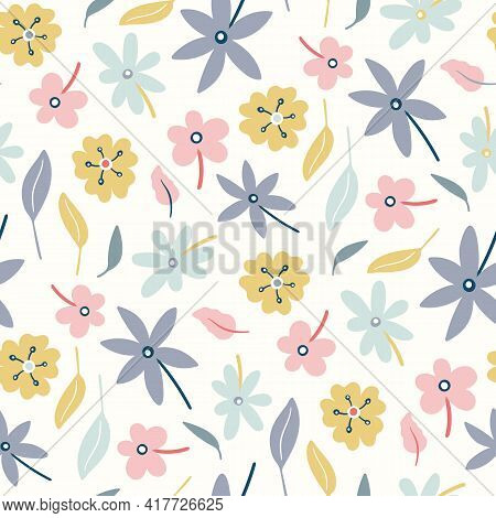 Floral Pattern Background.spring And Summer Vector Seamless Repeat Of Hand Drawn Flowers. Cute Desig