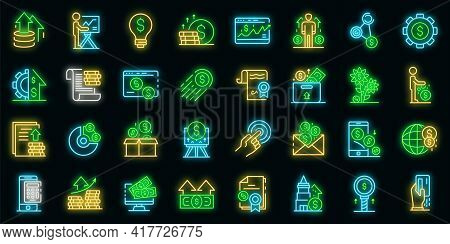 Investor Icons Set. Outline Set Of Investor Vector Icons Neon Color On Black