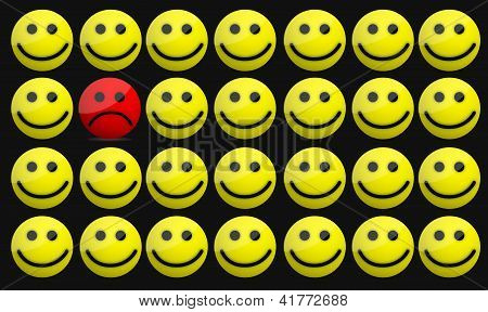 Smiles and one sad face illustration design over white poster