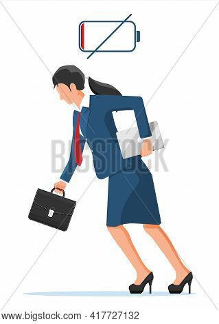 Businesswoman Character Tired Low Battery. Overworked Female Entrepreneur Executive At Work. Stresse