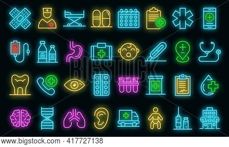 Pediatric Clinic Icons Set. Outline Set Of Pediatric Clinic Vector Icons Neon Color On Black