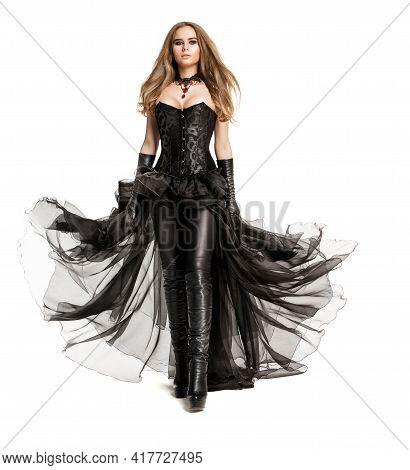 Fashion Gothic Woman In Black Leather Costume, Wearing Latex Pants, Chiffon Dress, Black Corset Walk